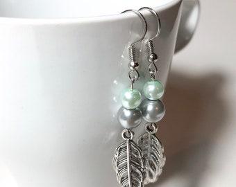 Mint pearl silver leaf dangle earrings