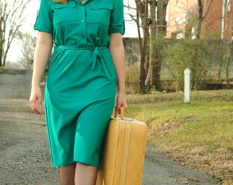Green with Envy : Vintage 1970s Butte Green Dress