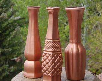 Copper Vases Glass Wedding  Set of 3
