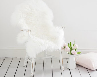 Super Soft Ivory Sheepskin Throw & Rug / Deep pile wool / The Alis