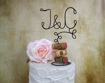 INITIALS Wine Wedding Cake Topper with Corks Base, Vineyard Wedding Cake Decoration for the Wine Lovers, Wine Wedding Table Centerpiece