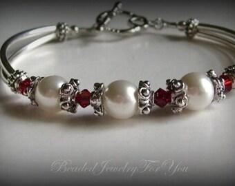 Bridal Gift Set Of SIX: Bridesmaid Pearl Bracelet, Pearl Wedding Jewelry, Wedding Bridal Jewelry, Wedding Party Gift, Jewelry Bridesmaid