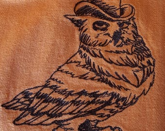 Kitchen Towel with Embroidered Owl in Brown