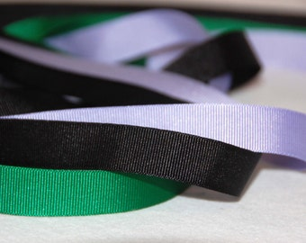 Gross grain ribbon lilac, green, black ,17mm wide