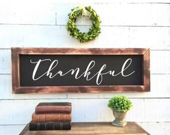 Thankful framed chalkboard, rustic home decor