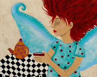 Original Fairy Painting on Canvas titled Morning Coffee and Fairy Freckles by Jeanne Fry