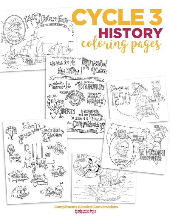 Cycle 3 HISTORY Coloring Pages 4th EDITION