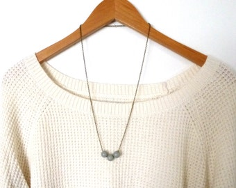Gray wood bead necklace, natural jewelry, simple jewelry, minimal wood jewelry, simple necklace