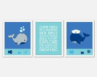 Nursery Whale Art Prints, Blue Whale Wall Art, Whale Baby Nursery, Whale Nursery, Whale Prints, Whale Baby Boy Gift, Whale Print Set Of 3