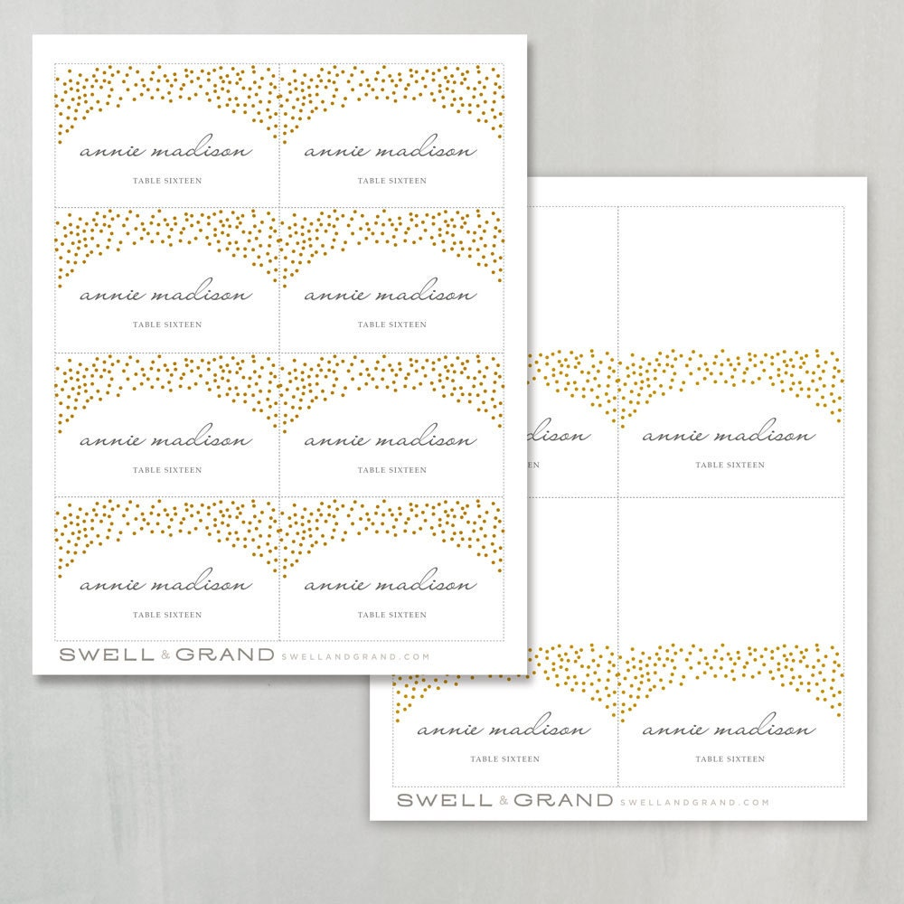 Printable Place Card Template INSTANT DOWNLOAD Gold Dots - Escort card template