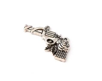 Antique silver revolver charm pendant