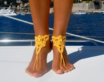 Yellow Foot Jewelry Footless Sandals Boho Jewelry Barefoot Sandals Beach Shoes Gift for Her Summer Jewelry for Her Bridesmaid Gift Ideas