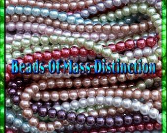 4mm Round Glass Pearl Bead Assortment - Destash Sale