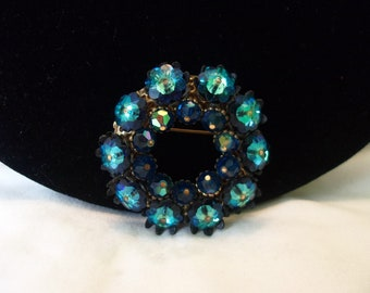 Czech Sapphire Blue Watermelon Margarita Rivoli Flower Brooch Glass Rhinestone Vintage Bead Pin