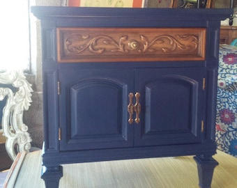 Nightstand Classy Accent Cabinet Vintage Wood Bedside Table Poppy Cottage PAINT to ORDER Painted Furniture