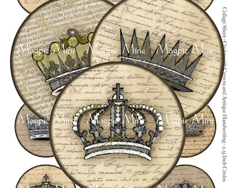 Grungy Crowns and Handwriting Digital Collage Sheet - 2.25 Inch Circles - Instant Download - Stained Vintage Writing - Printable Download