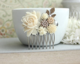 Shades of Ivory and Brown Flowers, Brass Leaf Filigree Flower Collage Hair Wedding Comb. Bridesmaids Comb, Woodland Country Nature Wedding