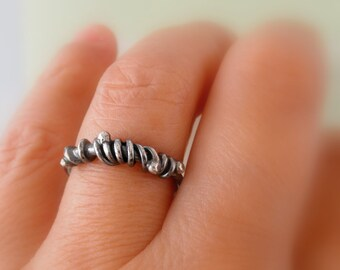 Unico Sterling Silver Oxidized Rustic Ring. Size 6.5