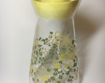 Vintage Pyrex Yellow Spring Blossom Glass Carafe Pitcher, Floral Pattern
