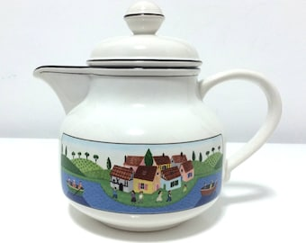 Vintage Villeroy & Boch teapot, Design Naif, Signed Laplau, Vitro-Porcelaine, 1980s, Made in Luxembourg