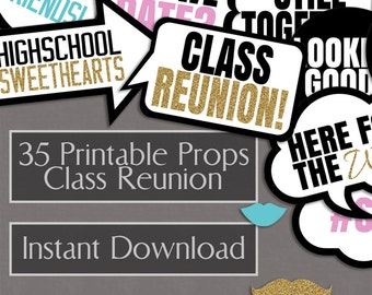 Class Reunion Photo Booth Props, school reunion party photo booth printable props, speech bubble photobooth props for school reunion