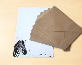 Stationery Letter Writing Set with kraft envelopes - Zebra
