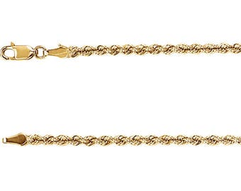 14K Yellow Gold Rope Chain, 24 Inches Long 3 mm  - CH957