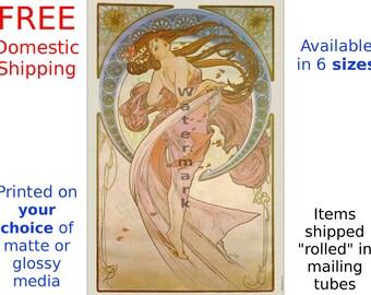 Art Nouveau Print, Art Nouveau Poster, Alphonse Mucha, The Arts Dance, La Danse - Home Decor, Wall Art (507)
