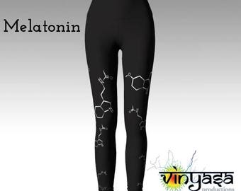 Nerdy Chic, Sleep Medicine - Melatonin molecular chemistry yoga pants/leggings  - neurotransmitter- AOW: made to order -