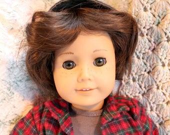 American Girl Custom Boy Doll Chocolate Brown Hair, Green Eyes & 5 Pc Outfit