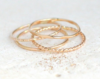GOLD stacking rings. SET of four. skinny slim. stack ring. hammered. shiny. 14k gold filled classic stack ring. knuckle ring. midi ring.