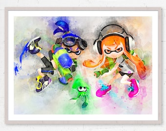 Inkling Girl Boy, Splatoon Print, Squid, Game Splatoon Poster, Nintendo Print, Watercolor Painting Effect, Nursery Print, PRINTABLE DOWNLOAD