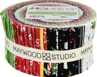 """Jingle All the Way - Christmas Fabric Jelly Roll Quilt Fabric Maywood Studio - Precut strips 40 - 2.5"""" wide - 100% Cotton Fabric Sushi Roll"""