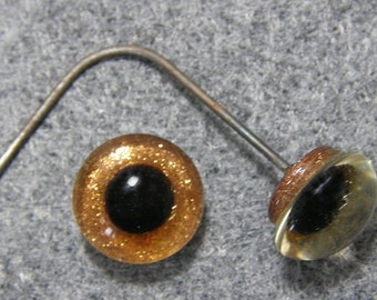 2 pr - 13 to 14mm -Gold Sparkle Solid Glass Eyes on Wire