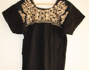 Typical mexican blouse (black with gold embroidery)
