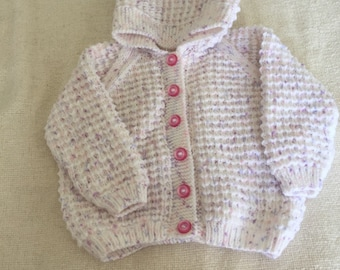 Hand knitted Hooded baby jacket