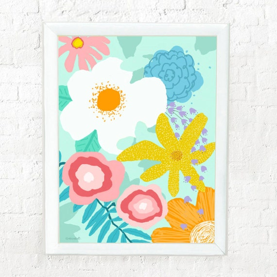 Abstract floral print for girl's room, girl's nursery wall art, abstract flower, wall art for girl's room, aqua, pink flowers, set of four