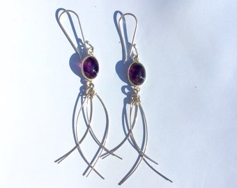 Sterling Silver Amethyst Earrings 2.5""