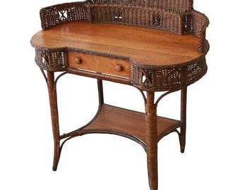 SOLD - 19th Century Reed and Oak Writing Desk by Heywood-Wakefield