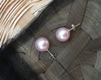 Rosaline Pink Pearl Sterling Silver Earrings 10mm
