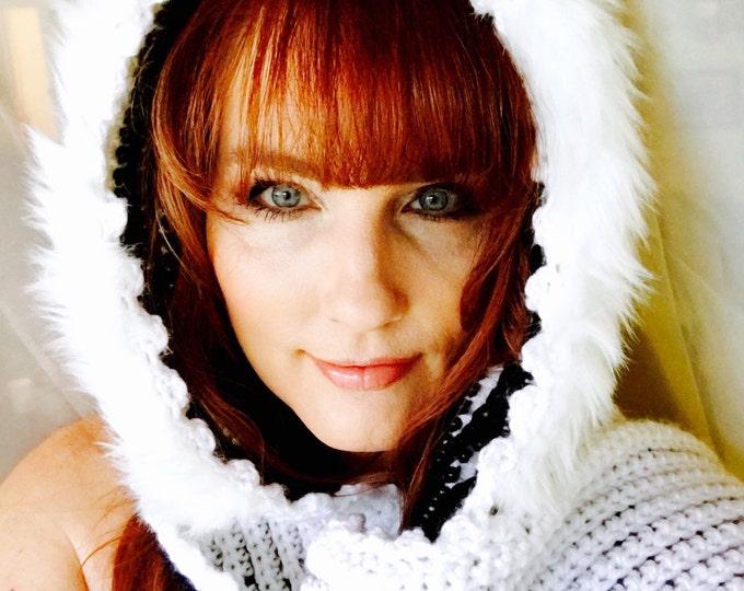 Hooded Scarf  -Fur Hoodie-Winter Hats-Crocheted Scarves-Crocheted hat-Womens head scarves