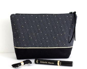 Trousse à maquillage en coton, coloris noir et doré