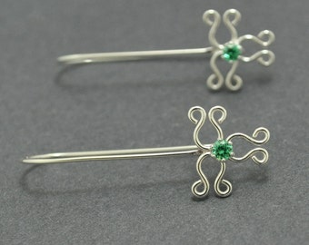 Sterling Silver Hoops, Silver Filigree Earrings, Long Earrings, Green Crystal Earrings