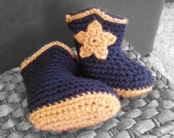Handmade baby cowboy boots, crochet infant cowboy booties, newborn shoes