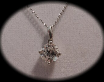 1970s Cubic Zirconia Pendant in Sterling Setting with Sterling Chain