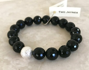 Bracelet - Starlight Stretch in black agate, gold or silver accent bead