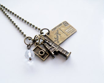 Travel Charm Necklace - Wanderlust Jewelry - World Traveller Charm Pendant - Post Card - Big Ben - Eiffel Tower - Camera - Europe Travel