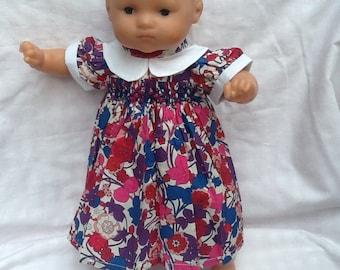 Liberty Boxford blue and pink dress has smocked doll 36 cm