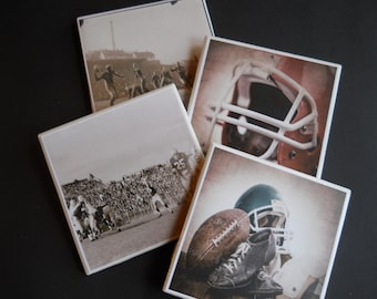 Football Coasters ~ Ceramic Tile Coasters ~ Vintage Football ~ Drink Coasters ~ Table Coasters ~ Home Decor ~ Sports Decor ~ Vintage Sports