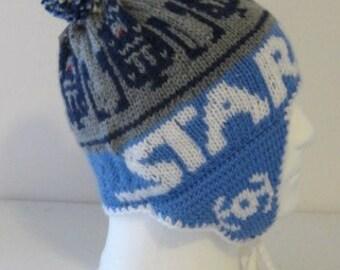 STAR WARS Beanie, r2d2 beanie,Jedi beanie, the force awakens,blue hat, earflap beanie  ( made to order)